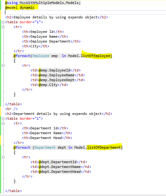 MVC View With Multiple Models Using Tuples And Expendo